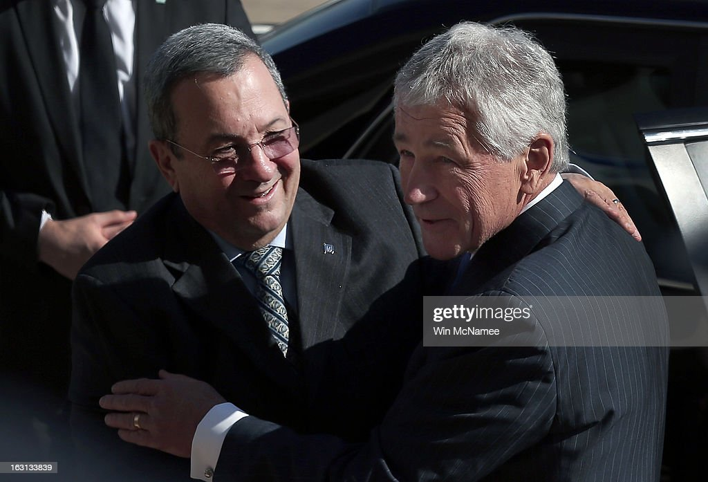 U.S. Secretary of Defense <a gi-track='captionPersonalityLinkClicked' href=/galleries/search?phrase=Chuck+Hagel&family=editorial&specificpeople=504963 ng-click='$event.stopPropagation()'>Chuck Hagel</a> (R) greets Israeli Minister of Defense <a gi-track='captionPersonalityLinkClicked' href=/galleries/search?phrase=Ehud+Barak&family=editorial&specificpeople=202888 ng-click='$event.stopPropagation()'>Ehud Barak</a> during an honor cordon arrival ceremony at the Pentagon March 5, 2013 in Arlington, Virginia. Hagel and Barak were scheduled to meet privately at the Pentagon.