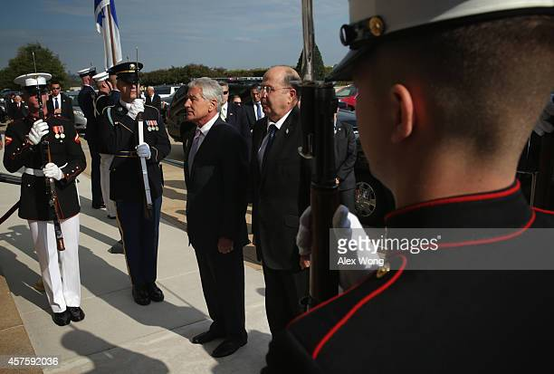 S Secretary of Defense Chuck Hagel hosts an honor cordon for Minister of Defense of Israel Moshe Ya'alon October 21 2014 at the Pentagon in Arlington...