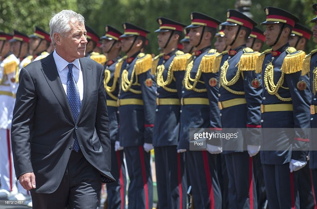 US Secretary of Defense <a gi-track='captionPersonalityLinkClicked' href=/galleries/search?phrase=Chuck+Hagel&family=editorial&specificpeople=504963 ng-click='$event.stopPropagation()'>Chuck Hagel</a> inspects Egyptian troops during an arrival ceremony at the Ministry of Defense on April 24, 2013 in Cairo, Egypt. The US Defense Secretary is on a six-day regional tour of the Middle East, his first since taking over as Pentagon chief two months ago. The visit is expected to be dominated by concerns over Iran's nuclear programme and Syria's civil war.