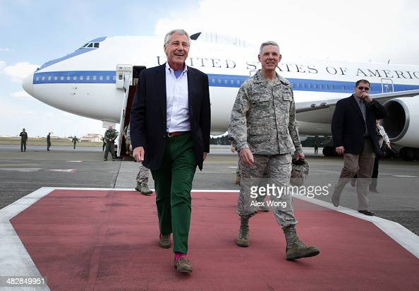 S Secretary of Defense Chuck Hagel is accompanied by Commander of US Force Japan Lt Gen Salvatore 'Sam' Angelella upon his arrival on April 5 2014 at...