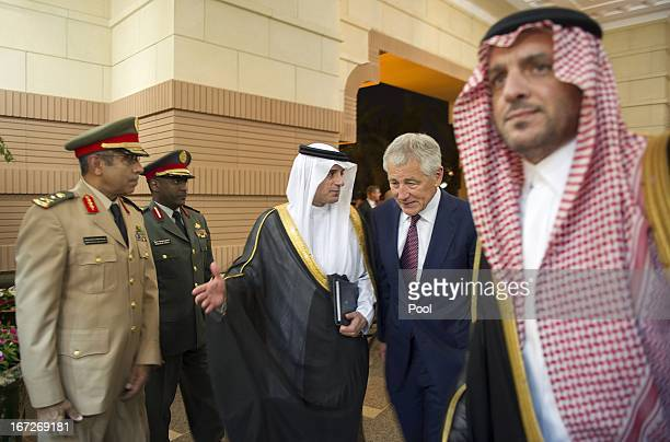 S Secretary of Defense Chuck Hagel is welcomed by Saudi ambassador to the United States Adel alJubeir as he arrives at the residence of Saudi Crown...