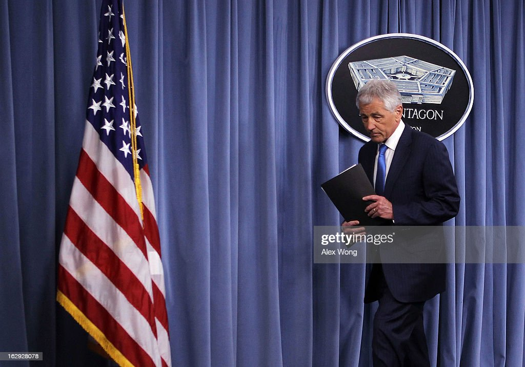 U.S. Secretary of Defense Chuck Hagel leaves a news briefing March 1, 2013 at the Pentagon in Arlington, Virginia. Secretary Hagel spoke on the impact of the sequestration to the Department of Defense.