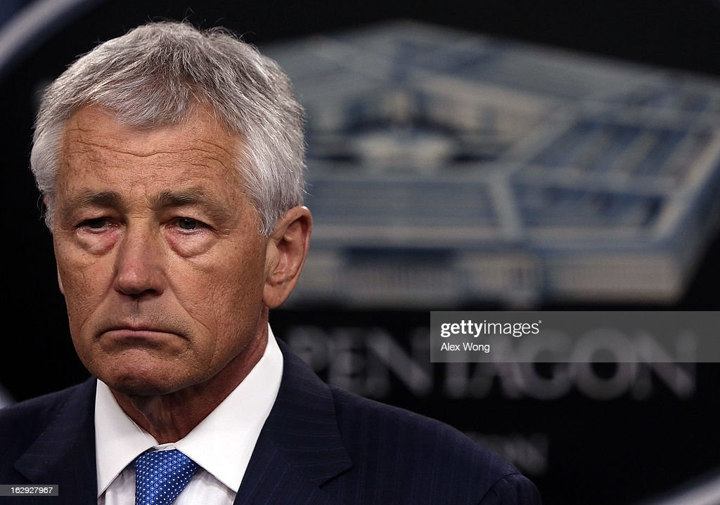 U.S. Secretary of Defense <a gi-track='captionPersonalityLinkClicked' href=/galleries/search?phrase=Chuck+Hagel&family=editorial&specificpeople=504963 ng-click='$event.stopPropagation()'>Chuck Hagel</a> listens during a news briefing March 1, 2013 at the Pentagon in Arlington, Virginia. Secretary Hagel spoke on the impact of the sequestration to the Department of Defense.