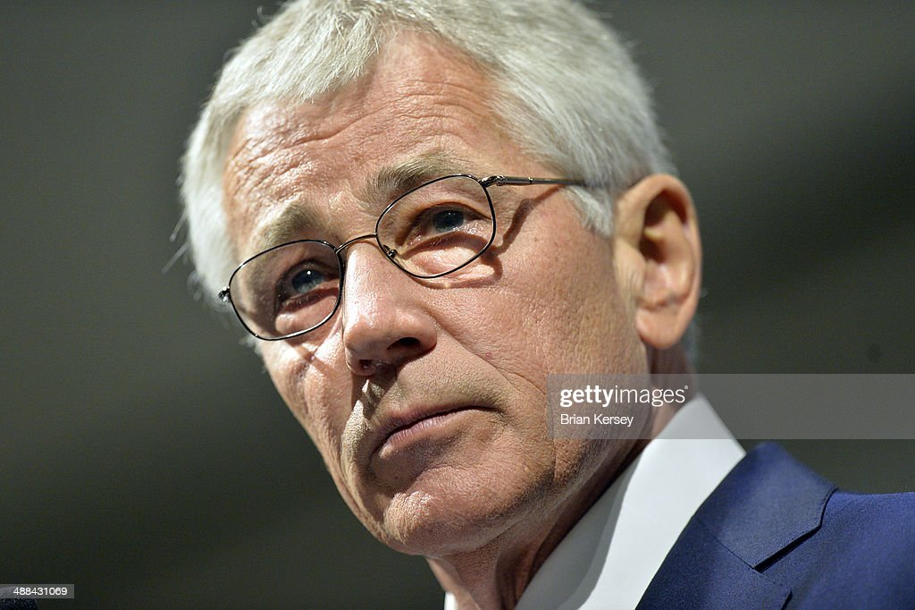 U.S. Secretary of Defense <a gi-track='captionPersonalityLinkClicked' href=/galleries/search?phrase=Chuck+Hagel&family=editorial&specificpeople=504963 ng-click='$event.stopPropagation()'>Chuck Hagel</a> speaks at an event hosted by the Chicago Council on Global Affairs and the University of Chicago Institute of Politics at the Fairmont Hotel on May 6, 2014 in Chicago, Illinois. Hagel's speech focused on the military's transition from 13 years of war to a new era with different strategic priorities and fiscal constraints.