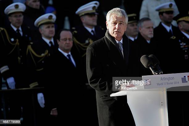 S Secretary of Defense Chuck Hagel speaks during a ceremony at the Tomb of the Unknown Soldier on February 11 2014 in Arlington Virginia 2014 marks...