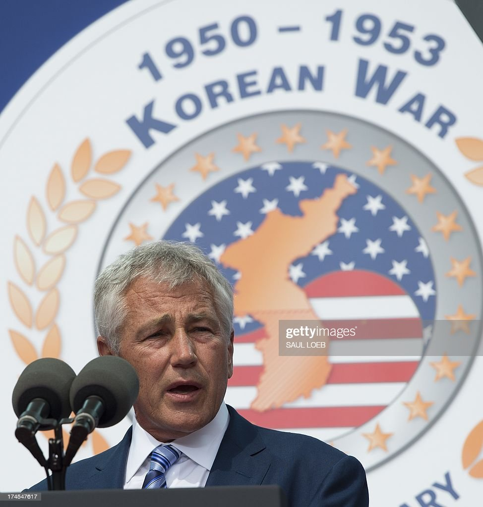 US Secretary of Defense Chuck Hagel speaks during a ceremony to commemorate the 60th anniversary of the signing of the Armistice that ended the Korean War, at the Korean War Veterans Memorial in Washington, DC, July 27, 2013. AFP PHOTO / Saul LOEB