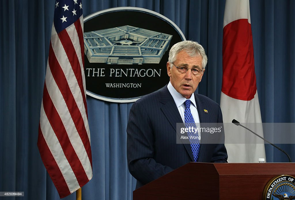 U.S. Secretary of Defense <a gi-track='captionPersonalityLinkClicked' href=/galleries/search?phrase=Chuck+Hagel&family=editorial&specificpeople=504963 ng-click='$event.stopPropagation()'>Chuck Hagel</a> speaks during a joint news conference with Japanese Minister of Defense Itsunori Onodera at the Pentagon July 11, 2014 in Arlington, Virginia. Onodera is on an eight-day visit in the U.S.