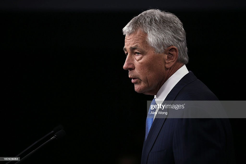 U.S. Secretary of Defense <a gi-track='captionPersonalityLinkClicked' href=/galleries/search?phrase=Chuck+Hagel&family=editorial&specificpeople=504963 ng-click='$event.stopPropagation()'>Chuck Hagel</a> speaks during a news briefing March 1, 2013 at the Pentagon in Arlington, Virginia. Secretary Hagel spoke on the impact of the sequestration to the Department of Defense.