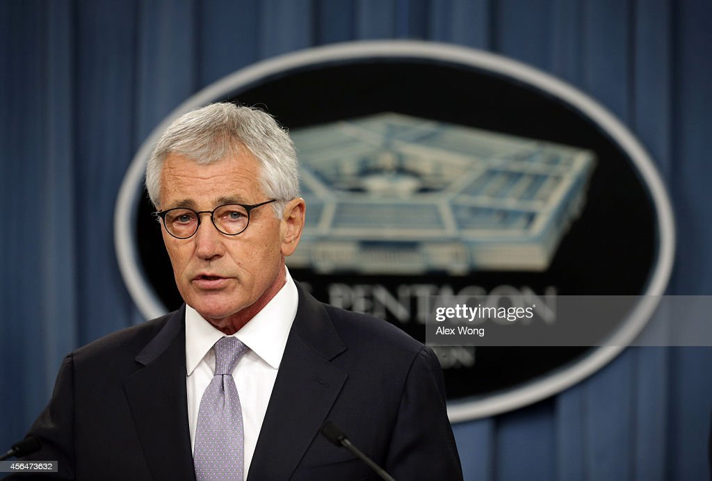 U.S. Secretary of Defense <a gi-track='captionPersonalityLinkClicked' href=/galleries/search?phrase=Chuck+Hagel&family=editorial&specificpeople=504963 ng-click='$event.stopPropagation()'>Chuck Hagel</a> speaks during a press briefing October 1, 2014 at the Pentagon in Arlington, Virginia. The briefing was to discuss the release of the Military Health System review.