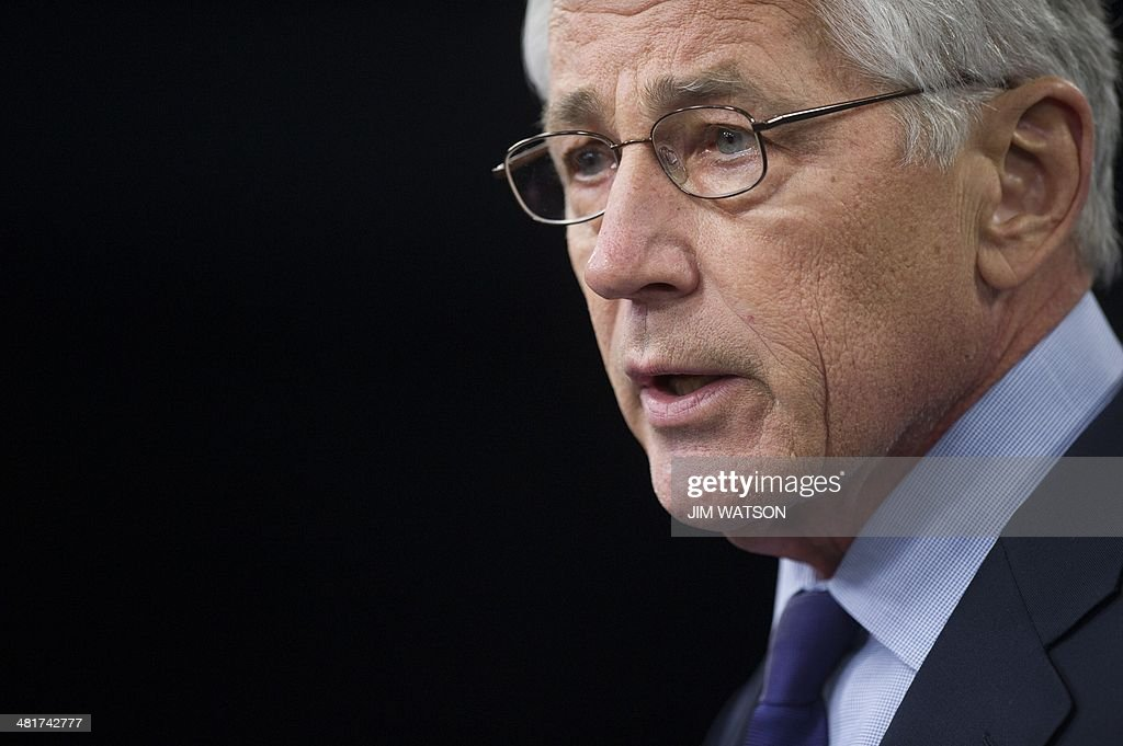 US Secretary of Defense Chuck Hagel speaks during a press conference at the Pentagon in Washington, DC, March 31, 2014. AFP PHOTO / Jim WATSON