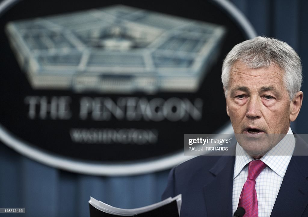 US Secretary of Defense Chuck Hagel speaks on March 15, 2013, inside the media briefing room of the Pentagon, in Washingon, DC. The United States is to bolster its defenses against a possible North Korean missile strike by siting 14 more interceptors in Alaska, Hagel announced Friday. The new batteries will boost by almost half the 30 interceptors already deployed along the California and Alaska coastline and should be in place by 2017, as Pyongyang races to develop a nuclear-armed ballistic threat. AFP Photo/Paul J. Richards