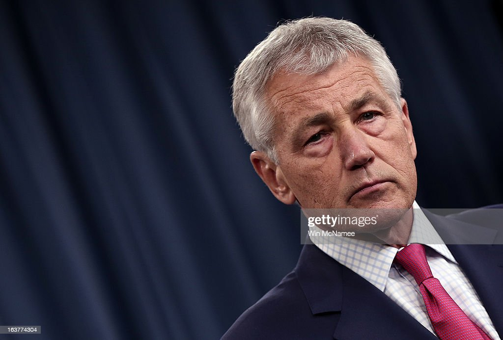 U.S. Secretary of Defense Chuck Hagel speaks on the U.S. missile defense system during a press briefing at the Pentagon March 15, 2013 in Arlington, Virginia. Hagel said the U.S. plans to boost its missile defense system due to concerns about the possible nuclear capabilities of North Korea.