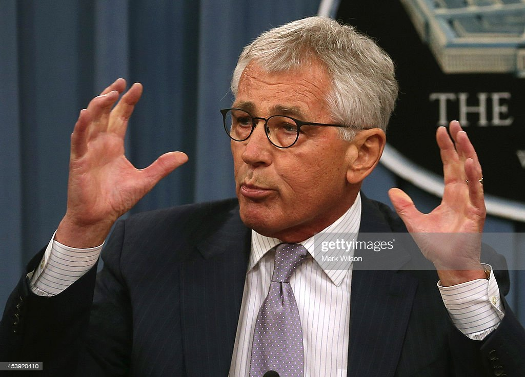 U.S. Secretary of Defense <a gi-track='captionPersonalityLinkClicked' href=/galleries/search?phrase=Chuck+Hagel&family=editorial&specificpeople=504963 ng-click='$event.stopPropagation()'>Chuck Hagel</a> speaks to the media during a press briefing at the Pentagon, August 21, 2014 in Arlington, Virginia. Secretary Hagel spoke about the terror group ISIS and the situation in Iraq.