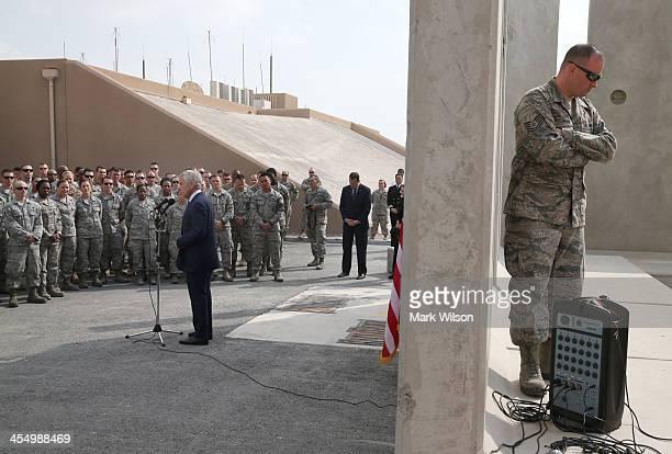 S Secretary of Defense Chuck Hagel speaks to troops gathered on December 10 2013 at Al Udeid Airbase west of Doha Qatar Secretary Hagel ended his six...