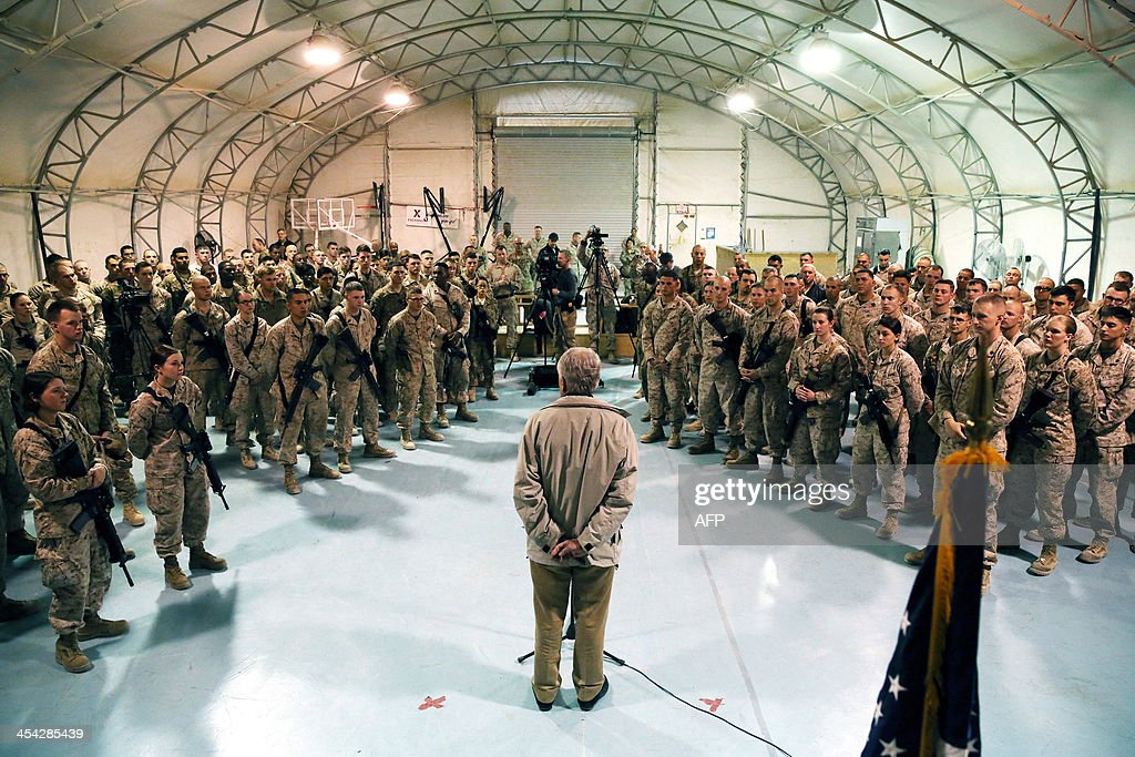 US Secretary of Defense Chuck Hagel speaks to US troops at Camp Bastion in Afghanistan on December 8 2013 Secretary Hagel thanked them for their...