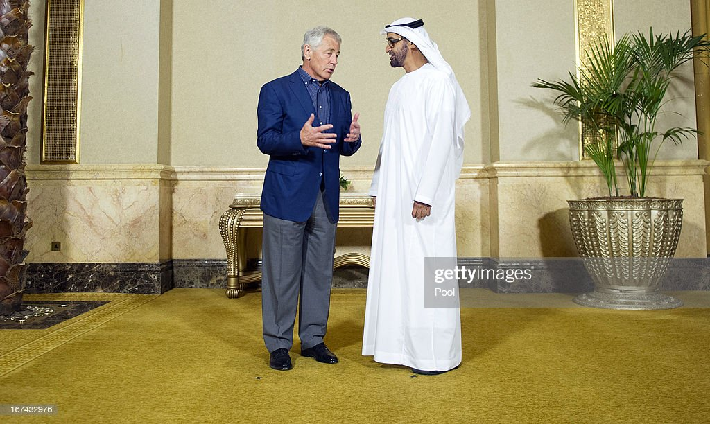 S. Secretary of Defense <a gi-track='captionPersonalityLinkClicked' href=/galleries/search?phrase=Chuck+Hagel&family=editorial&specificpeople=504963 ng-click='$event.stopPropagation()'>Chuck Hagel</a> (L) speaks with Abu Dhabi Crown Prince Mohamed Bin Zayed Al-Nahyan during a meeting April 25, 2013 in Abu Dhabi, United Arab Emirates on April 25, 2013 in Abu Dhabi, United Arab Emirates.The U.S. Defense Secretary is on a six-day regional tour of the Middle East, his first since taking over as Pentagon chief two months ago. The visit is expected to be dominated by concerns over Iran's nuclear program and Syria's civil war.