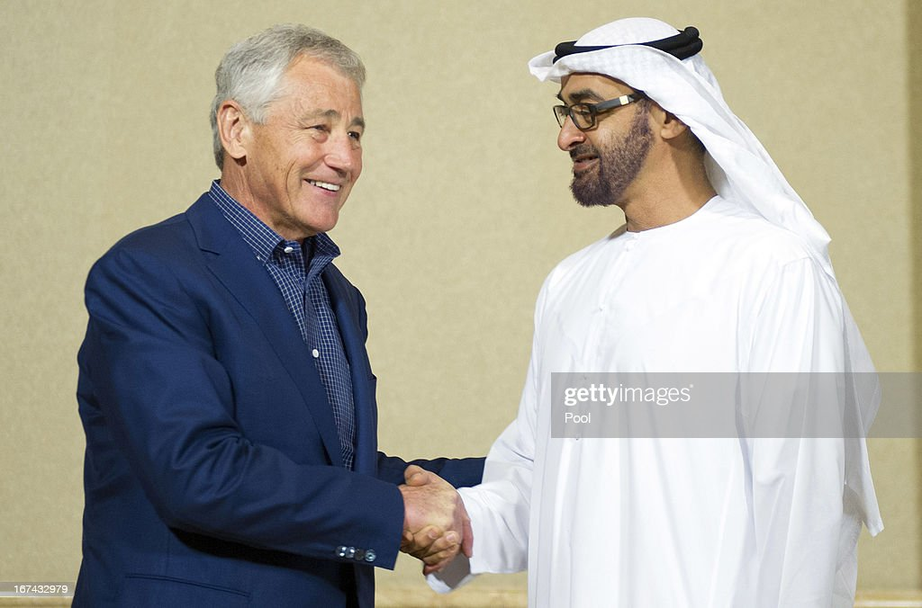 S. Secretary of Defense Chuck Hagel (L) speaks with Abu Dhabi Crown Prince Mohamed Bin Zayed Al-Nahyan during a meeting April 25, 2013 in Abu Dhabi, United Arab Emirates on April 25, 2013 in Abu Dhabi, United Arab Emirates.The U.S. Defense Secretary is on a six-day regional tour of the Middle East, his first since taking over as Pentagon chief two months ago. The visit is expected to be dominated by concerns over Iran's nuclear program and Syria's civil war.