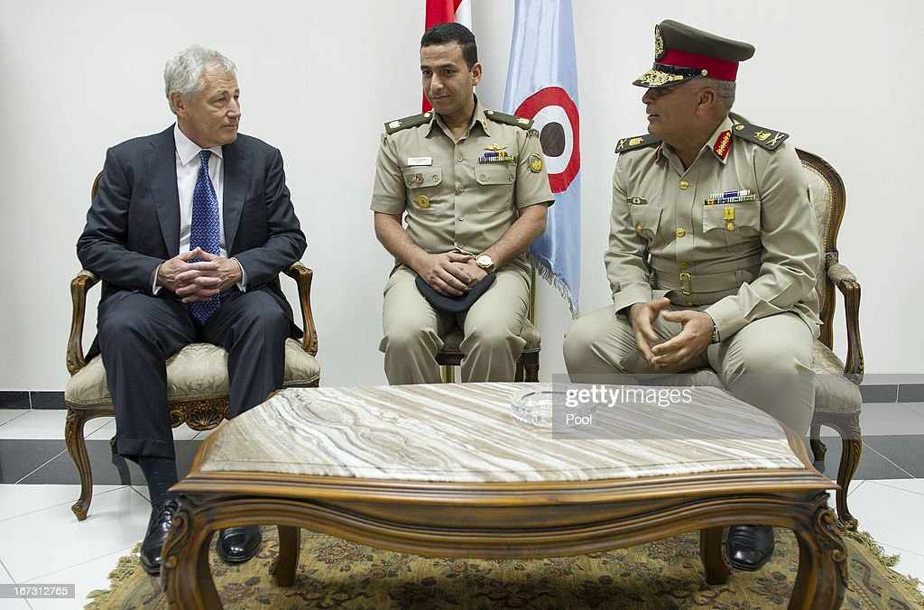 US Secretary of Defense Chuck Hagel speaks (L) with Egyptian Army Chief of Staff Major General Sedki Sobhi (R) upon his arrival into the capital on April 24, 2013 in Cairo, Egypt. The US Defense Secretary is on a six-day regional tour of the Middle East, his first since taking over as Pentagon chief two months ago. The visit is expected to be dominated by concerns over Iran's nuclear programme and Syria's civil war.