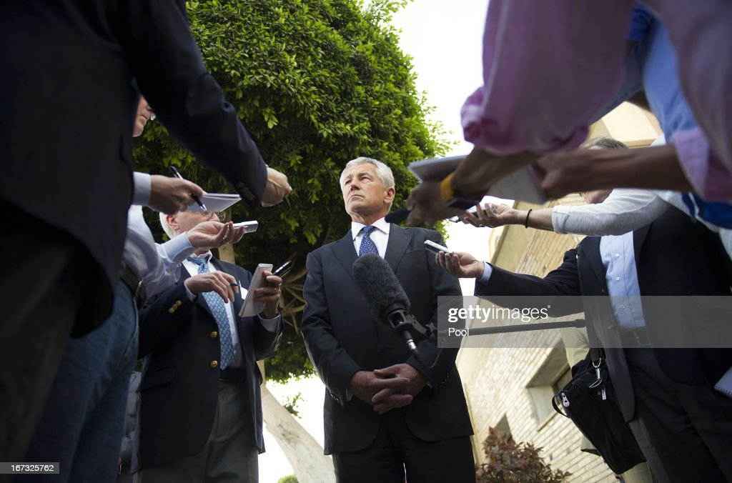 U.S. Secretary of Defense <a gi-track='captionPersonalityLinkClicked' href=/galleries/search?phrase=Chuck+Hagel&family=editorial&specificpeople=504963 ng-click='$event.stopPropagation()'>Chuck Hagel</a> speaks with reporters after meeting Egyptian President Mohamed Morsi on April 24, 2013 in Cairo, Egypt. The U.S. Defense Secretary is on a six-day regional tour of the Middle East, his first since taking over as Pentagon chief two months ago. The visit is expected to be dominated by concerns over Iran's nuclear program and Syria's civil war.