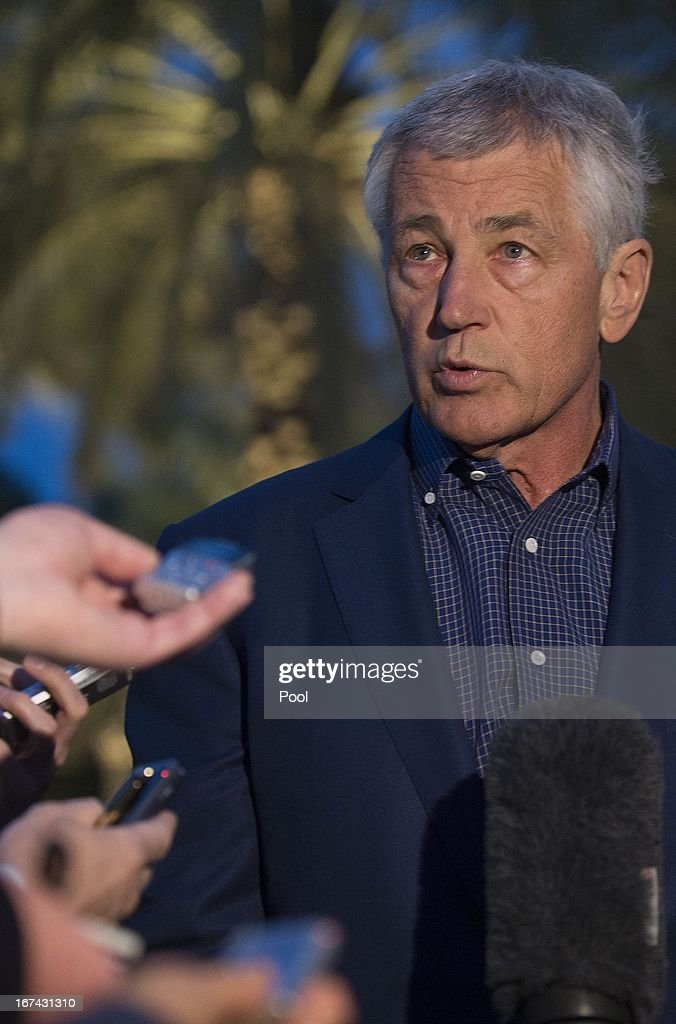 S. Secretary of Defense <a gi-track='captionPersonalityLinkClicked' href=/galleries/search?phrase=Chuck+Hagel&family=editorial&specificpeople=504963 ng-click='$event.stopPropagation()'>Chuck Hagel</a> speaks with reporters after reading a statement on chemical weapon use in Syria during a press conference on April 25, 2013 in Abu Dhabi, United Arab Emirates.The U.S. Defense Secretary is on a six-day regional tour of the Middle East, his first since taking over as Pentagon chief two months ago. The visit is expected to be dominated by concerns over Iran's nuclear program and Syria's civil war.