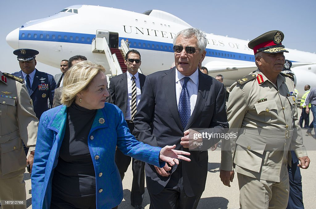 US Secretary of Defense Chuck Hagel (C) speaks with US Ambassador to Egypt Anne Patterson (L) and Egyptian Army Chief of Staff Major General Sedki Sobhi (R) upon his arrival into the capital on April 24, 2013 in Cairo, Egypt. The US Defense Secretary is on a six-day regional tour of the Middle East, his first since taking over as Pentagon chief two months ago. The visit is expected to be dominated by concerns over Iran's nuclear programme and Syria's civil war.