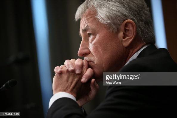 S Secretary of Defense Chuck Hagel testifies during a hearing before the Defense Subcommittee of Senate Appropriations Committee June 11 2013 on...