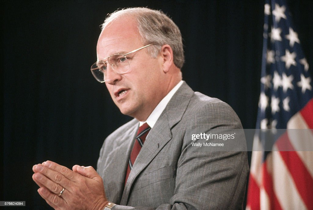 Secretary of Defense Dick Cheney briefs the press at the Pentagon