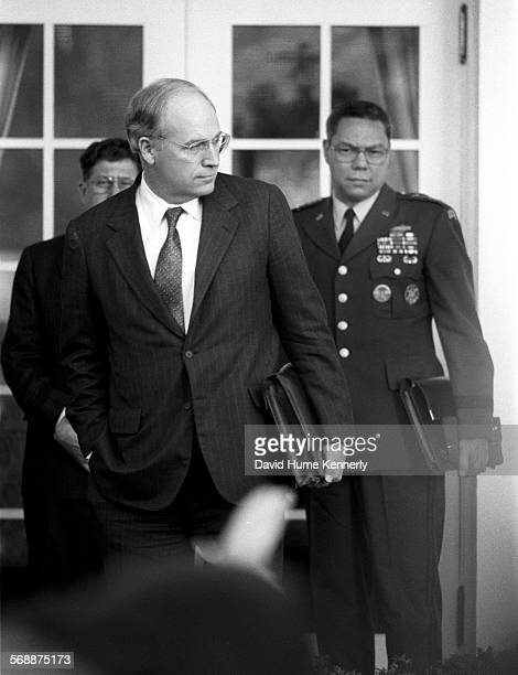 Secretary of Defense Dick Cheney Chairman of the Joint Chiefs Colin Powell in the Rose Garden at the White House talk about the visit of Cheney and...