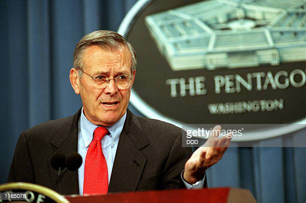 Secretary of Defense Donald H Rumsfeld speaks about Operation Enduring Freedom or the war on terrorism during a Pentagon press briefing September 25...