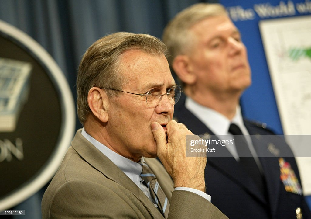 Secretary of Defense Donald Rumsfeld and Chairman of the Joint Chiefs of Staff general Richard B. Myers hold a press conference at the Pentagon. They are explaining changes to the Pentagon's Unified Command plan to allow for better control over homeland defense.