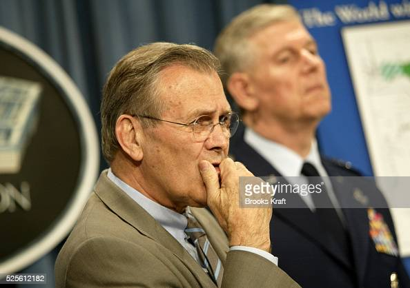 Secretary of Defense Donald Rumsfeld and Chairman of the Joint Chiefs of Staff general Richard B Myers hold a press conference at the Pentagon They...