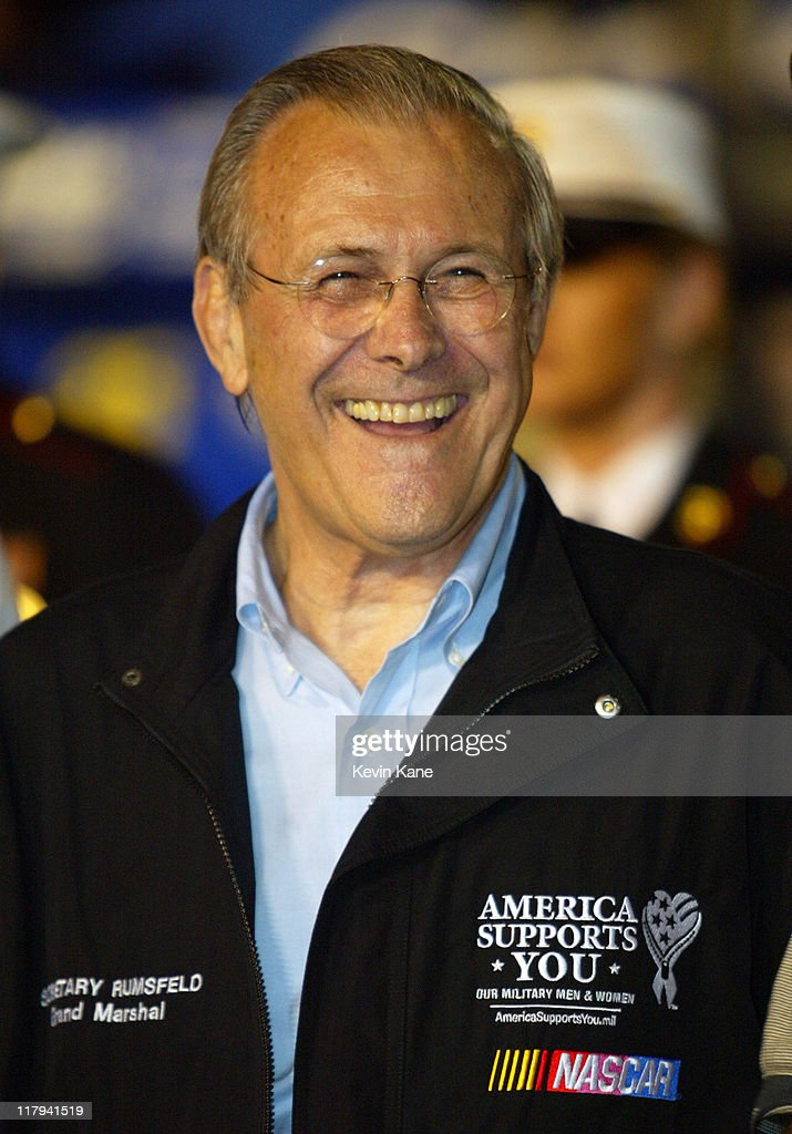 Secretary of Defense, Donald Rumsfeld on pit road during the pre-race activites of the NASCAR Nextel Cup Pepsi 400 race at Daytona International Spedway on July 2, 2005 in Daytona Beach, Florida.