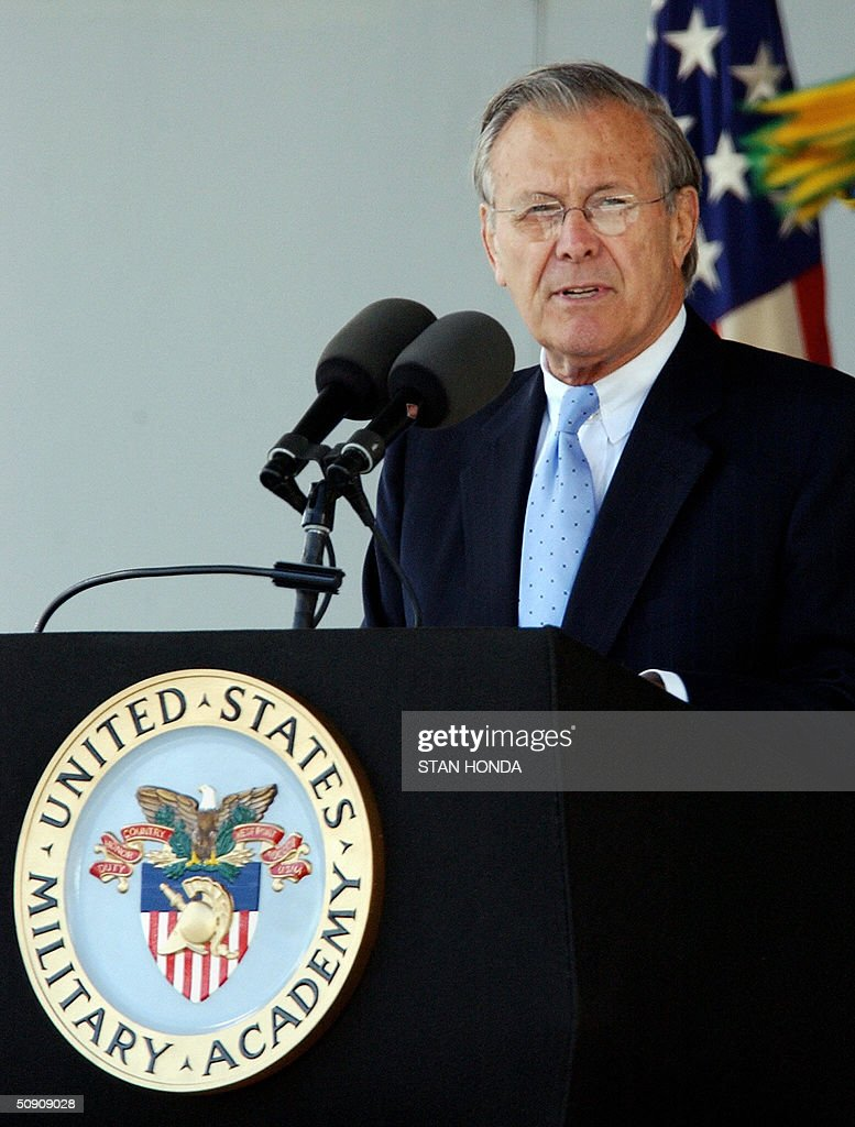 US Secretary of Defense Donald Rumsfeld speaks before the 2004 graduating class of the US Military Academy 29 May 2004 at West Point, NY. While hailing the overthrow of regimes in Afghanistan and Iraq, Rumsfeld warned that the war on terror, launched in response to the 11 September 2001 attacks, would dominate the cadets' careers for years to come. AFP PHOTO/Stan HONDA
