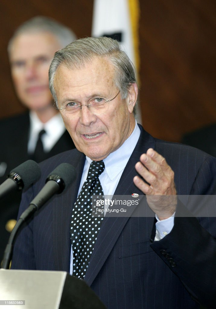 U.S. Secretary of Defense Donald Rumsfeld speaks during a press conference after the 37th Security Consultative Meeting (SCM) at the Ministry of Defense on October 21, 2005 in Seoul, South Korea.Secretary Rumsfeld expressed his appreciation for the continued deployment of the ROK armed forces in Iraq and Afghanistan and recognized that the ROK armed forces are making a critical contribution to both Iraq and Afghan reconstruction, helping to build a safe and free nation for their people.