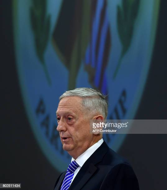 US Secretary of Defense James Mattis and German Defence Minister Ursula von der Leyen give a press statement prior to a ceremony to commemorate the...