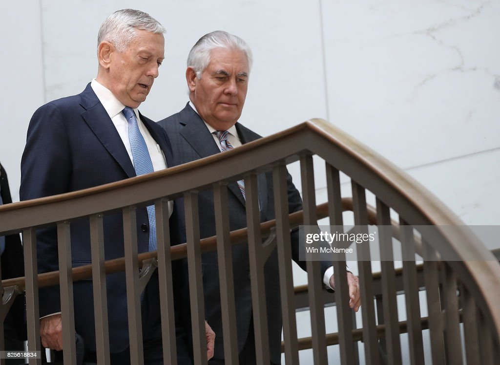 U.S. Secretary of Defense James Mattis (L) and Secretary of State Rex Tillerson (R) arrive for a closed briefing at the U.S. Capitol with the Senate Foreign Relations Committee August 2, 2017 in Washington, DC. The committee was briefed on 'The Authorizations for the Use of Military Force: Administration Perspective.'