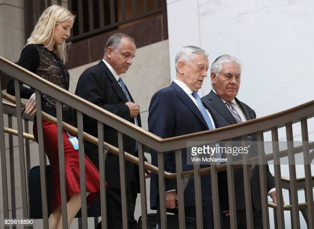 S Secretary of Defense James Mattis and Secretary of State Rex Tillerson arrive for a closed briefing at the US Capitol with the Senate Foreign...
