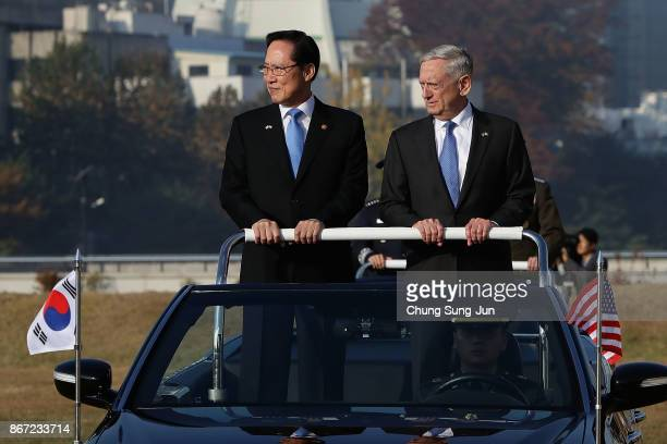S Secretary of Defense James Mattis and South Korean Defense Minister Song Youngmoo review an honor guard during a welcoming ceremony before the 49th...