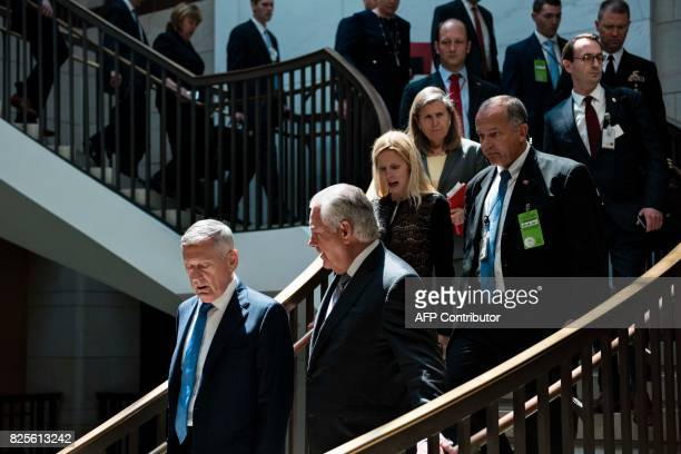 US Secretary of Defense James Mattis and US Secretary of State Rex Tillerson arrive for a closed meeting of the Senate Foreign Relations Committee on...
