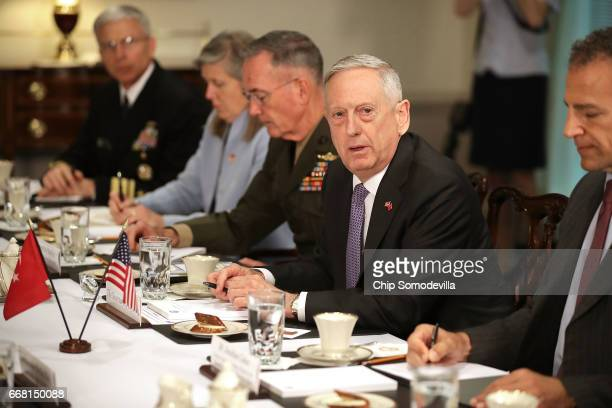 S Secretary of Defense James Mattis answers a reporter's question about North Korea during a working lunch with Turkish Minister of National Defense...