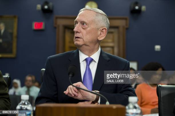 US Secretary of Defense James Mattis arrives to testify on the Defense Department budget at a House Appropriations Committee Defense Subcommittee...