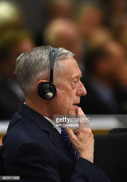 US Secretary of Defense James Mattis attends a ceremony to commemorate the 70th anniversary of the Marshall Plan to rebuild a ravaged Europe after...