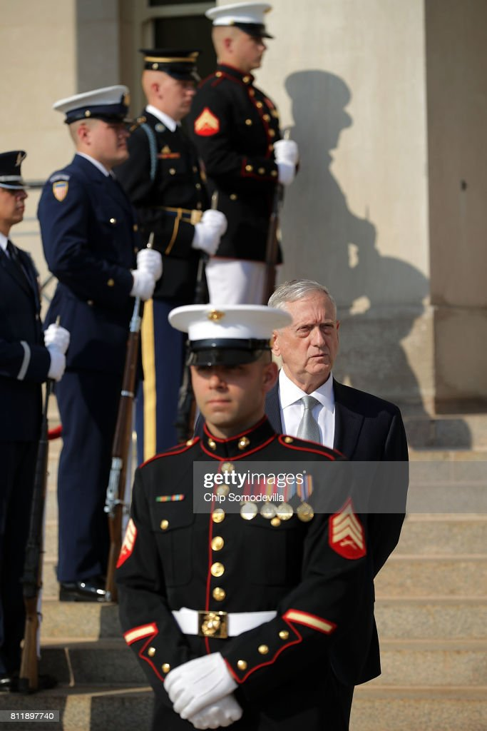 U.S. Secretary of Defense James Mattis awaits the arrival of Tunisian Prime Minister Youssef Chahed during an honor cordon ceremony at the Pentagon July 10, 2017 in Arlington, Virginia. Chahed will participate in bilateral meetings with Vice President Mike Pence later in the day.