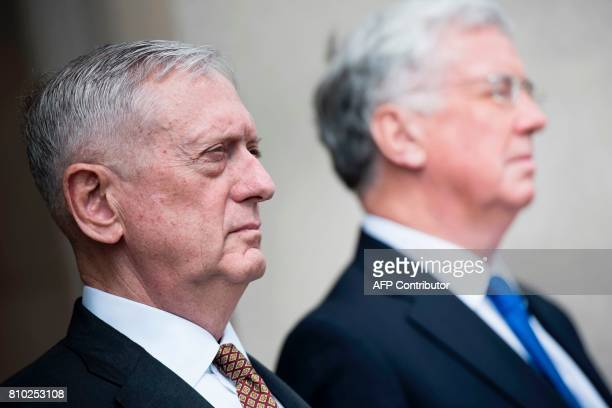 US Secretary of Defense James Mattis Britain's Secretary of Defense Michael Fallon stand together before a meeting at the Pentagon on July 7 2017 in...