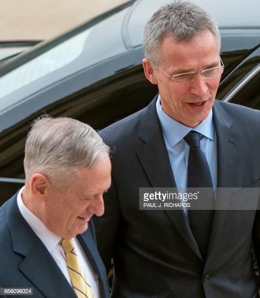US Secretary of Defense James Mattis greets Jens Stoltenberg Secretary General of the North Atlantic Treaty Organization upon arrival March 21 at the...