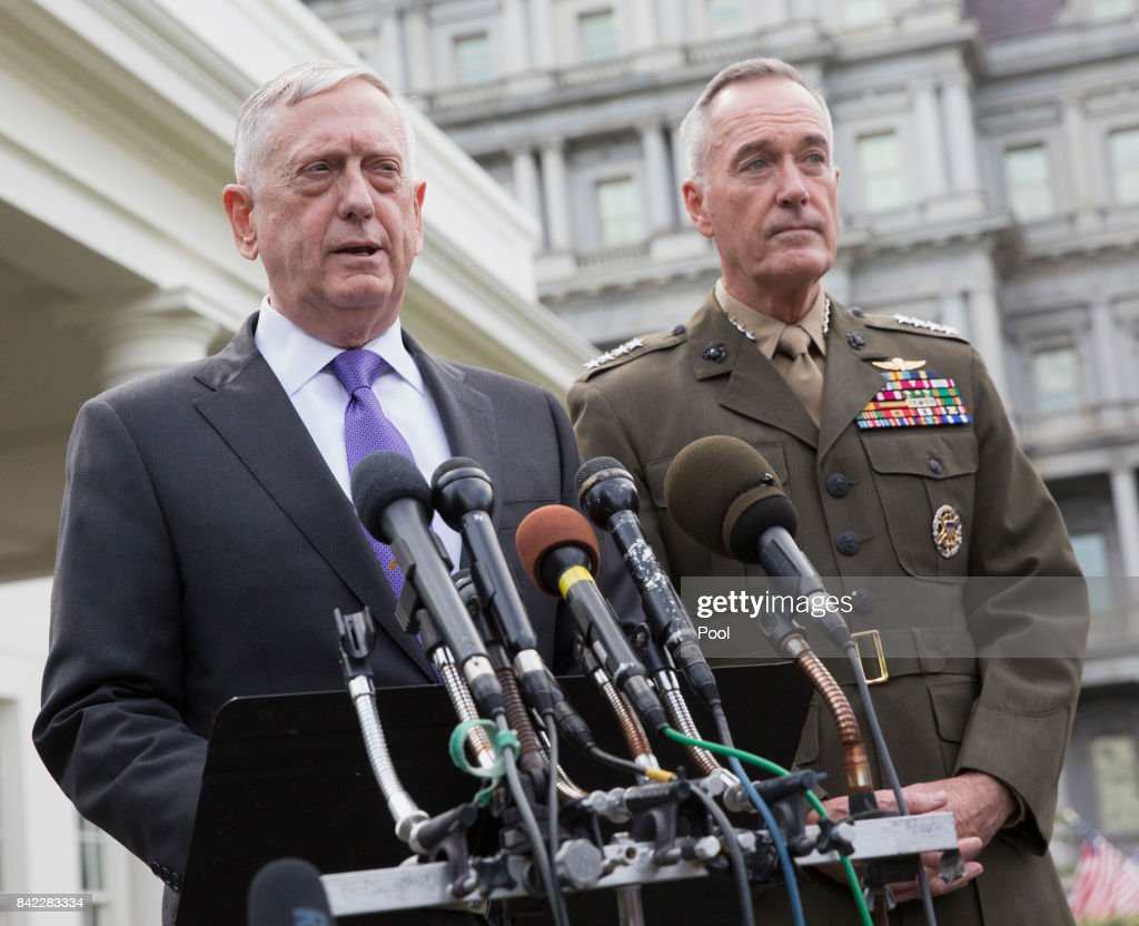 U.S. Secretary of Defense James Mattis (L) makes a statement at the White House on a possible military response to the recent North Korea missile launch, with Chairman of the Joint Chiefs of Staff Joseph Dunford on September 3, 2017 in Washington, DC.