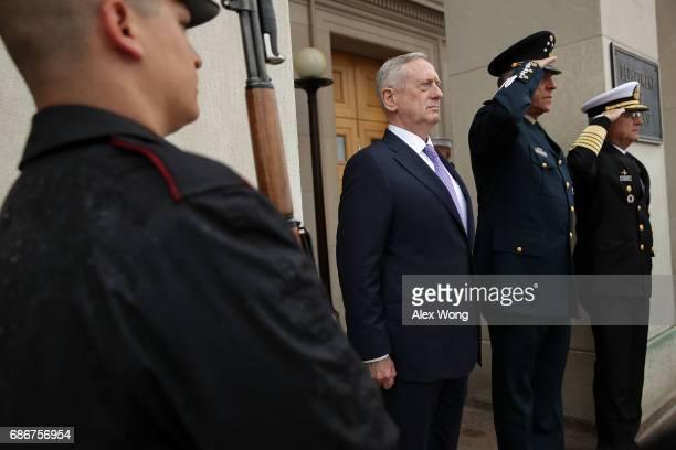S Secretary of Defense James Mattis participates in an enhanced honor cordon to welcome Mexican Secretary of National Defense Gen Salvador Cienfuegos...