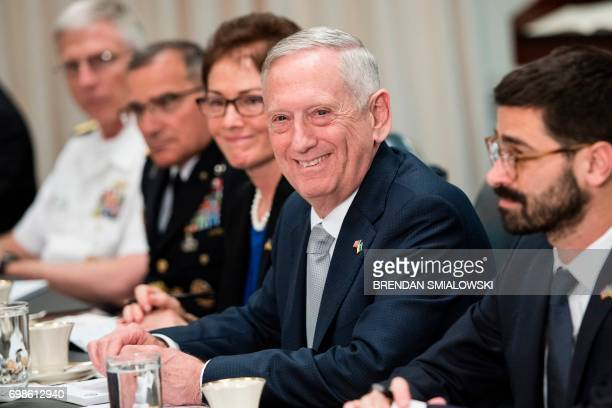 US Secretary of Defense James Mattis smiles before a meeting with Ukraine's President Petro Poroshenko at the Pentagon on June 20 2017 in Washington...