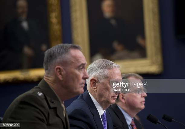 US Secretary of Defense James Mattis US Marine General Joseph Dunford Chairman of the Joint Chiefs of Staff and David Norquist Defense Department...