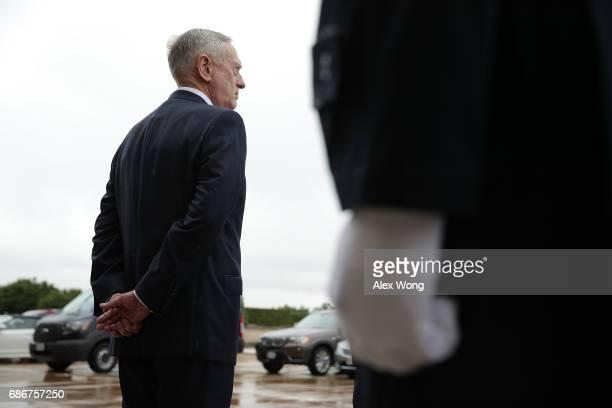 S Secretary of Defense James Mattis waits for the arrival of Mexican Secretary of National Defense Gen Salvador Cienfuegos Zepeda and Mexican...